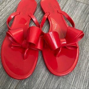 Valentino Garavani Red Bow Rubber Flip Flops 7 7.5